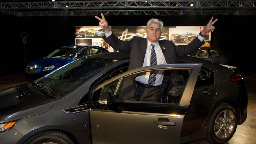 Jay Leno with a Chevy Volt