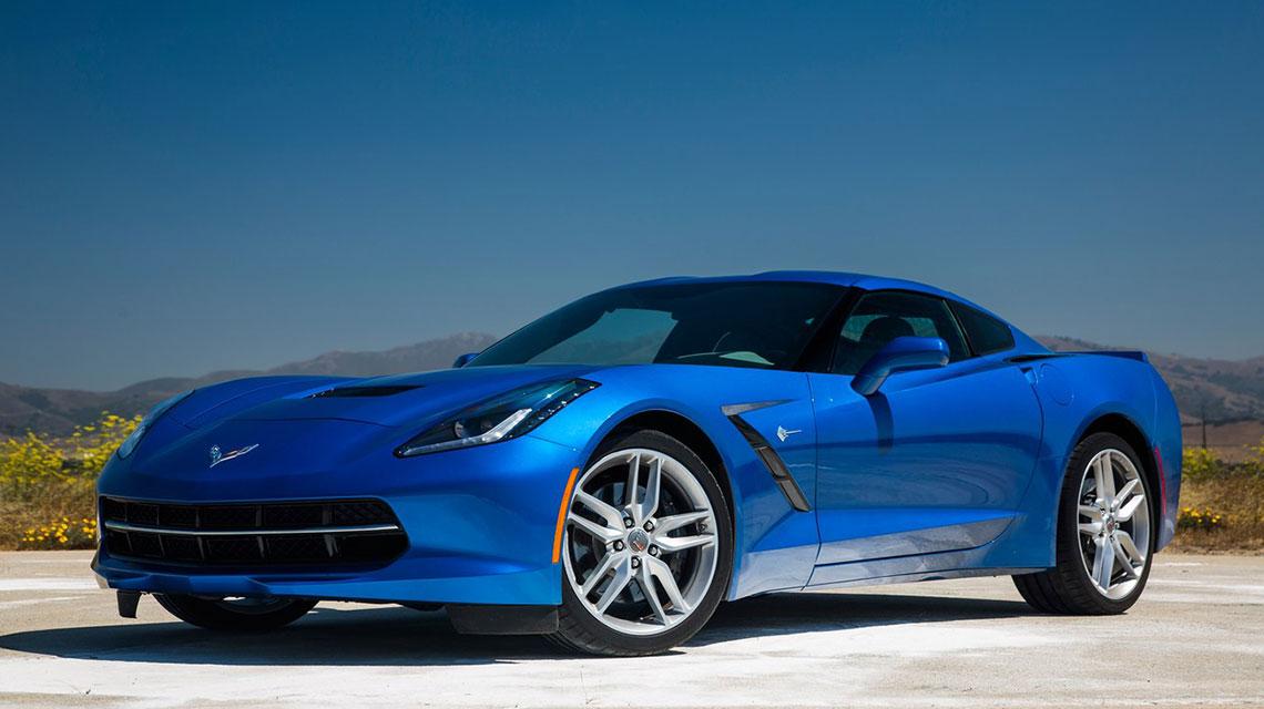 2014 Blue Corvette Stingray Parked