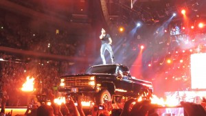 Luke Bryan on a Chevy Truck