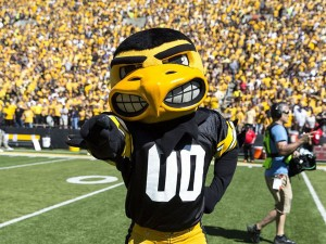 BRIAN RAY/UNIVERSITY OF IOWA Herky the Hawk, the mascot for the University of Iowa Hawkeyes, has been accused of looking too mean, at least by one UI professor. Herky's feathers have not been ruffled, however.