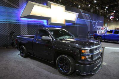 2014 Chevy Silverado in a Showroom