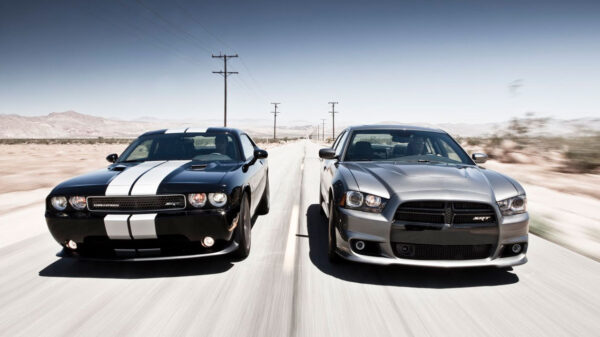 Dodge Charger and Dodge Challenger driving side by side