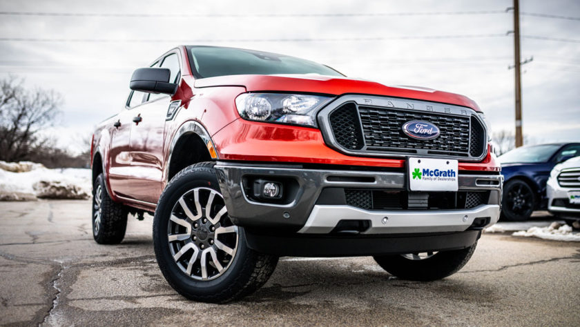 Orange 2019 Ford Ranger in snow
