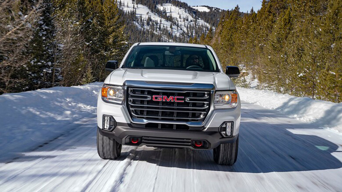 2021 GMC Canyon AT4 in the snow