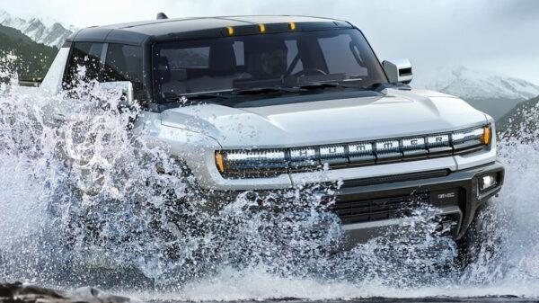 Hummer EV in water