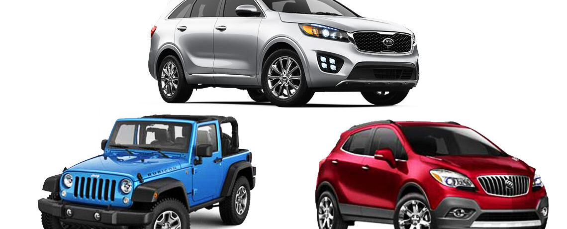 Kia Sorento Jeep Wrangle Buick Encore
