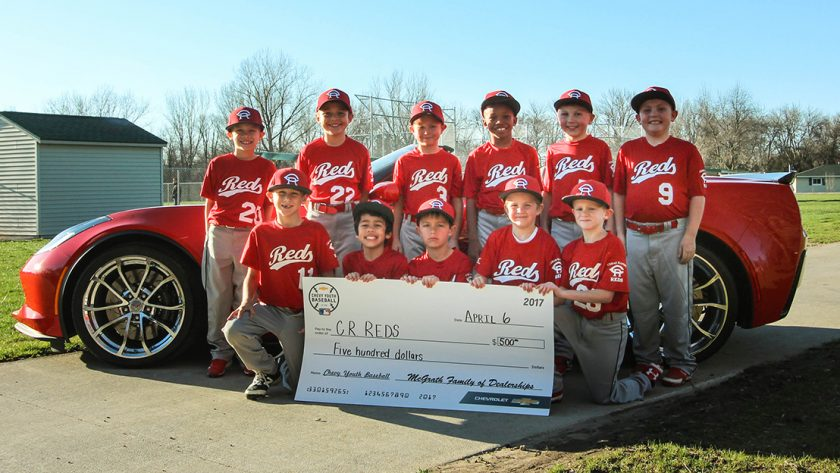 Pat McGrath Chevyland Supports local Cedar Rapids Reds 8U Baseball Team