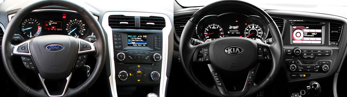 Interior of the Ford Fusion and Kia Optima