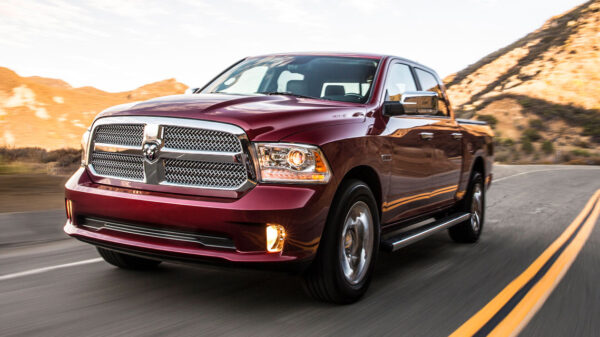 Ram 1500 driving down the road
