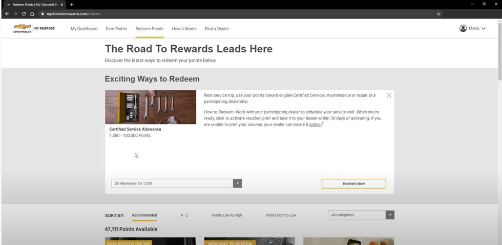 Redeem My Chevrolet Rewards